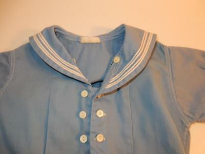 Vintage 1940S Royal Baby Boy Romper Blue Sailor Shorts Outfit / Composition Doll