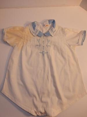 Vintage 1940S Royal Baby Boy Romper Blue Embroidery Outfit Or Composition Doll