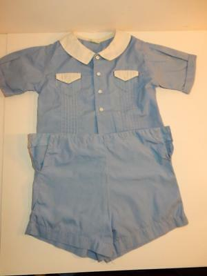 Vintage 1940S Royal Baby Boy Romper Blue Fancy Shorts Outfit Or Composition Doll