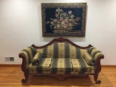 Antique Duncan Phyfe Style sofa with matching framed needlepoint