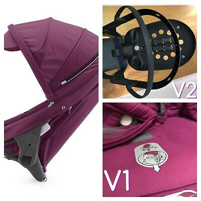 STOKKE SCOOT V2 / CRUSI SIBLING PUSHCHAIR SEAT With  V1 Purple Fabric USED