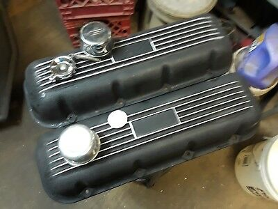 Vintage BBC Valve Covers Cast aluminum Mercury Marine . Mr.Gasket