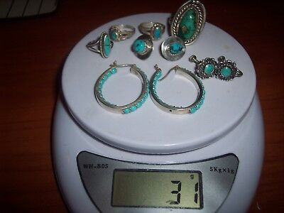 Vintage 925 Sterling Silver LOT 3 Sets Of Earrings & 4 Rings Turquoise 31 Grams