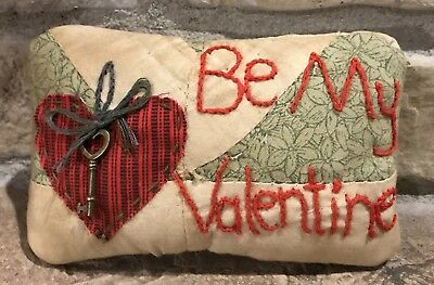 Very Primitive Small *Key To My Heart* Valentine Pillow- Made From Vintage Quilt