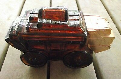 Retro Vintage Amber Glass AVON Stage Coach After Shave Lotion / Perfume Bottle