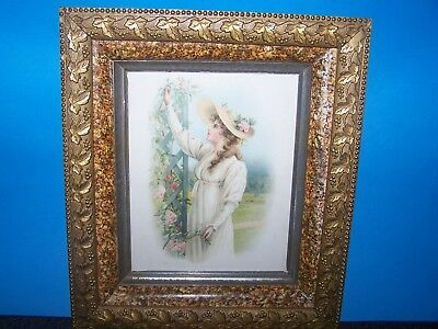 Antique Victorian Gold Gilted Ivy Grapes Marble Wooden Frame W/ Inez Warry Print