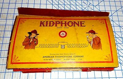 Antique 1920s American Thermophone Company Kidphone Toy Telephone VG