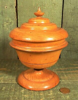 Antique 1800s Peaseware Covered Pedestal Jar Container Acorn Finial Treenware