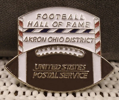 unusual USPS pin has Akron OH postal district & Canton Football Hall of Fame