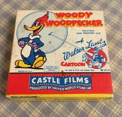 "WOODY WOODPECKER 495 ""Redwood Sap"" Castle Films 8MMor 16MMsound/silent projector"