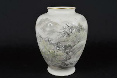 R2018: Japanese Old Arita-ware Landscape pattern FLOWER VASE Fukagawa made