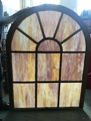 Pair of Antique Slag Stained Glass Church Windows