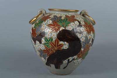 R7534: Japanese Kiyomizu-ware Flower Autumn leaves pattern FLOWER VASE Ikebana