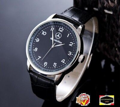 Mercedes Benz Men's Watch Stainless Steel black Leather Strap Black Dial
