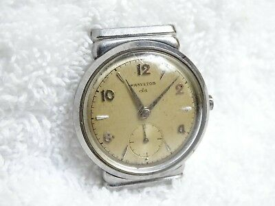 Vintage HAMILTON Vardon 17 J Adj Wind Men's Wrist Watch 747 parts hooded lugs