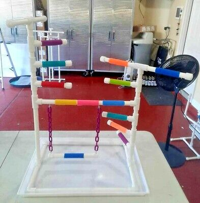 """Custom 1/2"""" PVC Parrot Perch Fun GymStand with LADDER, PAN and SWING!"""