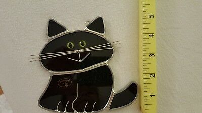 Stained Glass Black Fat Cat Sun Catcher,  Window Hanging
