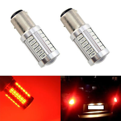2x Red / Rouge 1156 BA15S 5630 33SMD LED Car Backup Reverse Lights from Canada