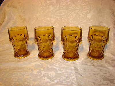 Vintage/Georgian/Glasses Tumblers/HoneyCombThumbprint Amber/ Setof 4