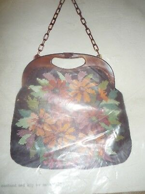 Vintage - Diy- Tapestry Handbag Kit Complete With Handle And Chain