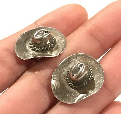 Unique Mexico Sterling Silver Cowboy Hat 925 Screw On Earrings
