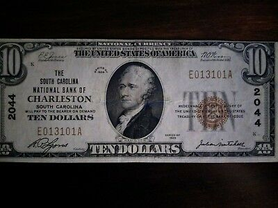 1929 United States 10-Dollar National Currency Note - Charleston, SC
