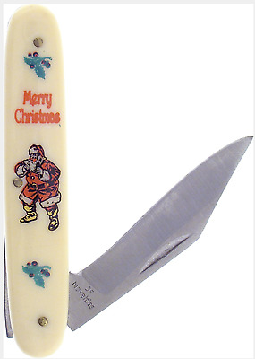 Merry Christmas Pocket Knife Yellowed Handles Traditional Santa Claus