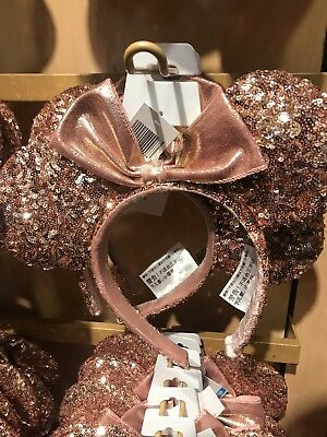 NEW Authentic Disney Parks Disneyland Minnie Sequins Rose Gold Ears Headband