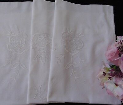 "VINTAGE ROSE EMBROIDERY ""HW"" MONOGRAM LARGE SIZED PURE-COTTON PILLOWCASE 77x71.5"
