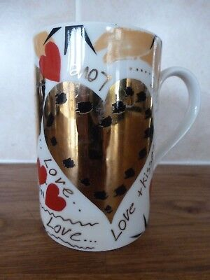 Coloured & Gilt Dunoon Mug – 'Love Hearts'