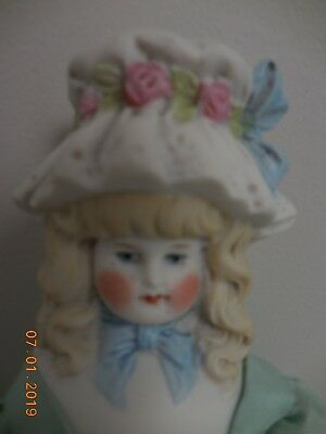 "Antique / Vintage Bisque Bonnet Head 11"" Doll Parian Type - Very Good Condition"
