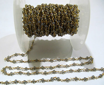 10 Ft- Mystic Labradorite Hydro Quartz Wire Wrapped Beads 3mm Rosary Chain
