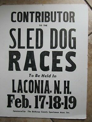 Old Dog Sled Race Poster, Laconia, New Hampshire, Husky, Ididarod, Musher Alaska