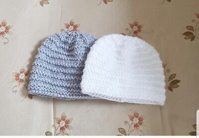 Pack of 2 hand knitted   baby Hats  in newborn