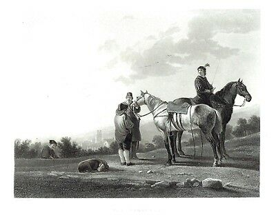 """""""The Troopers"""" (Talking to a Peasant) Engraving after Aelbert Cuyp - c1860"""