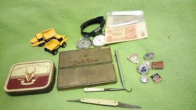 JOB LOT COLLECTION VINTAGE COLLECTABLES Bank Notes Pocket Watches Badges Tins