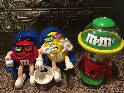 M&M Candy Dispensers Lot of 2 At The Movies On Couch & Spinning Dispenser
