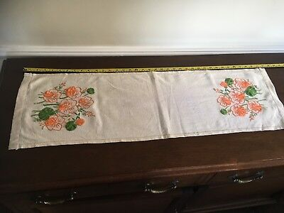 Vintage Embroidered Table Runner Unused and Unlaudered