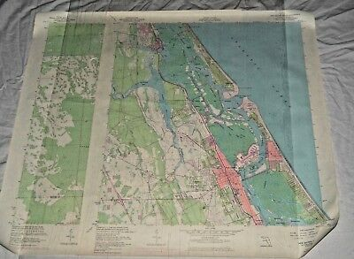 Vintage Florida Topographical Map Geological Survey Lot 2 Smyrna Beach 50s Color