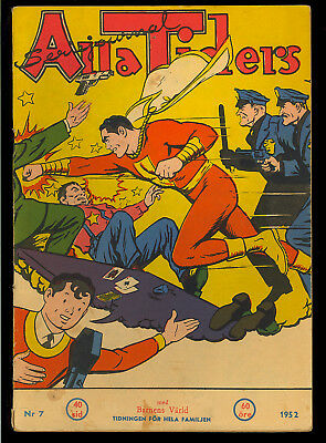 Captain Marvel (Swedish) #7 Foreign Edition Golden Age Fawcett Comic 1952 VG+