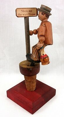 Vintage Anri Bottle Stopper Drinking Man Show Me The Way Home Sign Post Xlnt!