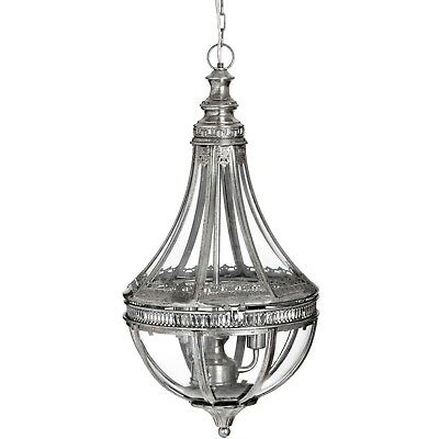Silver with Brushed Gold Ornate Metal Glass Hanging Pendant Ceiling Light Lamp