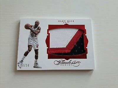 "GLEN RICE / Panini ""Flawless"" / 3clr JUMBO PATCH  #d/14 (Miami Heat)"