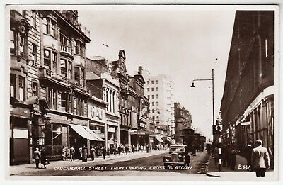 GLASGOW - Sauchiehall St from Charing Cross - 1953 used Real Photo postcard