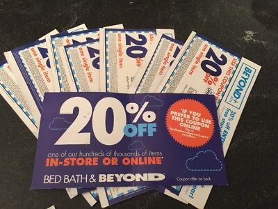 Bed Bath & Beyond LOT of 10 COUPONS - 20% Off In-Store or Online. Fast Ship