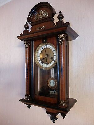 German Antique Short Cased Pendulum Movement Wall Clock c1890.