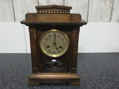 Vintage Wooden Mantel Clock Unghans A13 Collectable Old Antique