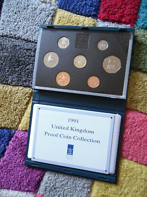 1991 Royal Mint Uk Proof Coin Collection Set With Coa & Display Case