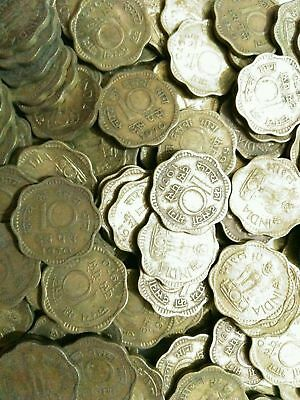 India-Republic 10 Paise * NICKEL-BRASS COINS * 100 Pcs LOT, 1968 - 1971 Antique