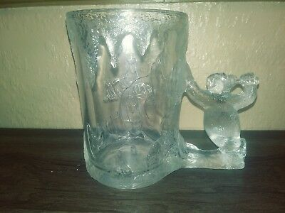 1997 Vtg Coca Cola Coke Polar Bear Handle Mug Glass Stein Heavy Frosted